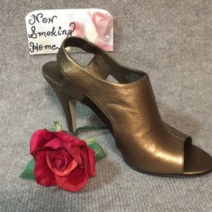 NINE WEST BRONZE GOLD LEATHER OPEN TOE HEELS SZ 7